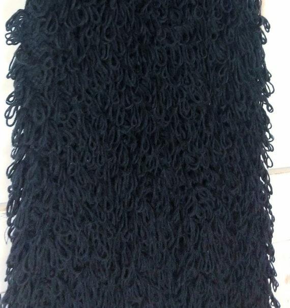 Vintage chunky black knit sweater vest/long woven… - image 6