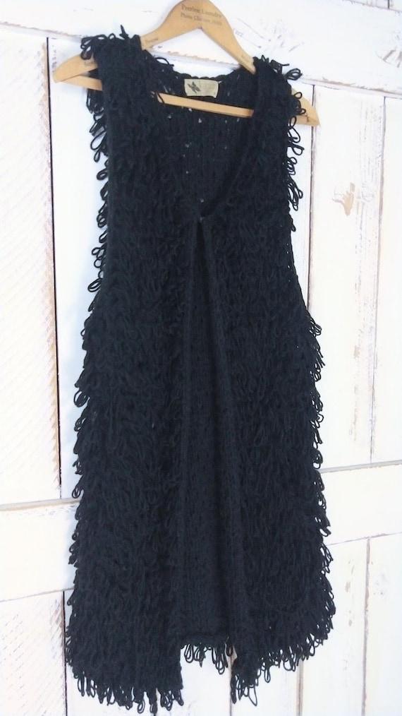 Vintage chunky black knit sweater vest/long woven… - image 3