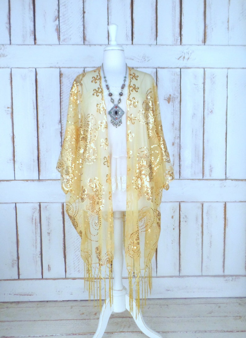 02d77269aaa Metallic gold sheer net sequin floral fringe gypsy festival