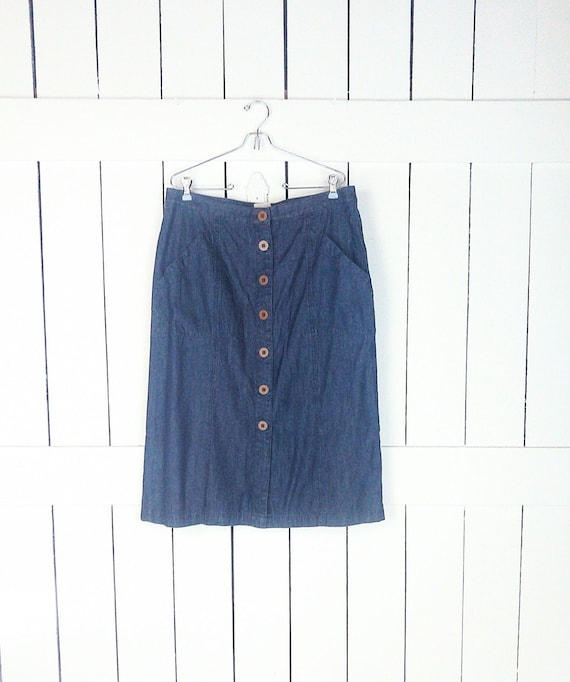 Blue jean denim button down high waisted midi skir