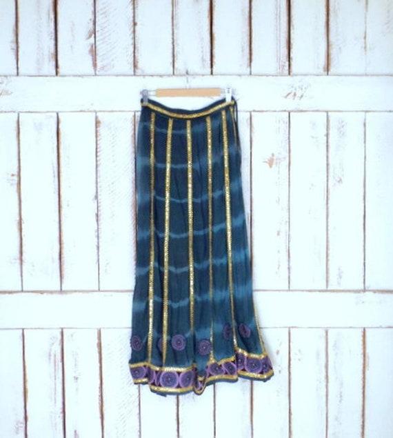 Vintage sheer green tie dye Indian sequins maxi sk