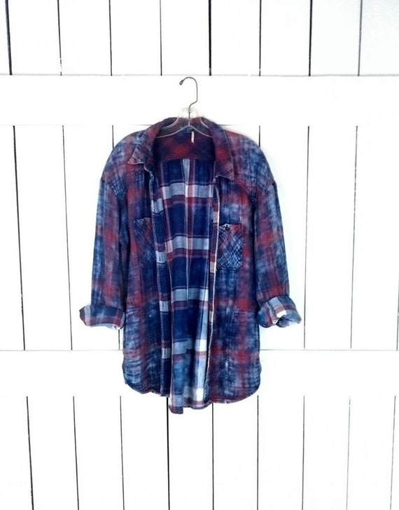 90s cotton blue plaid tye dye bleached flannel shi