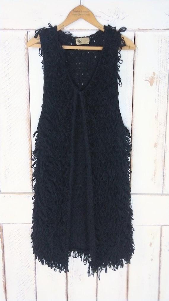 Vintage chunky black knit sweater vest/long woven… - image 2