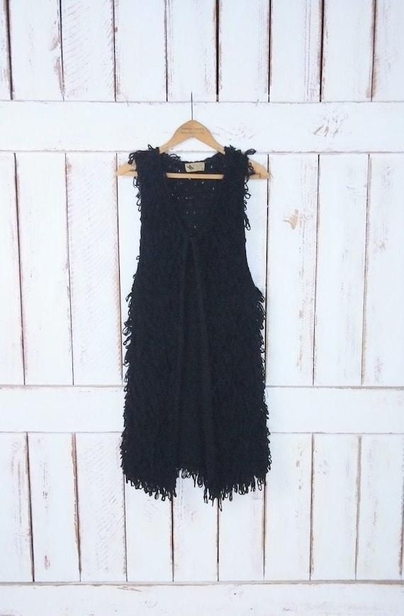 Vintage chunky black knit sweater vest/long woven
