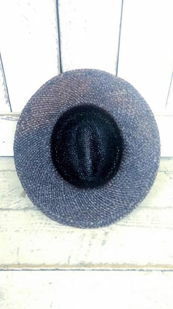 Vintage 90s brown natural straw summer fedora hat… - image 4