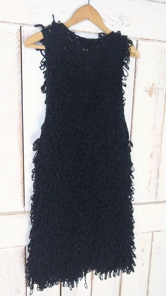 Vintage chunky black knit sweater vest/long woven… - image 5