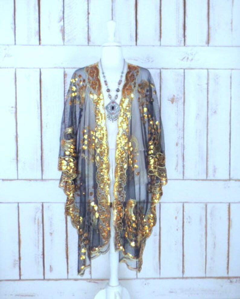 a0a4b5af4f Sheer black net metallic gold sequin peacock festival | Etsy
