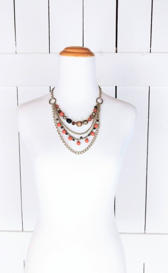 Chunky layered bead chain necklace/vintage multi s
