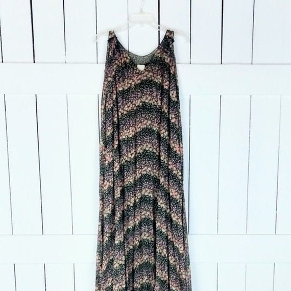 Black floral sheer sleeveless tent maxi dress/long
