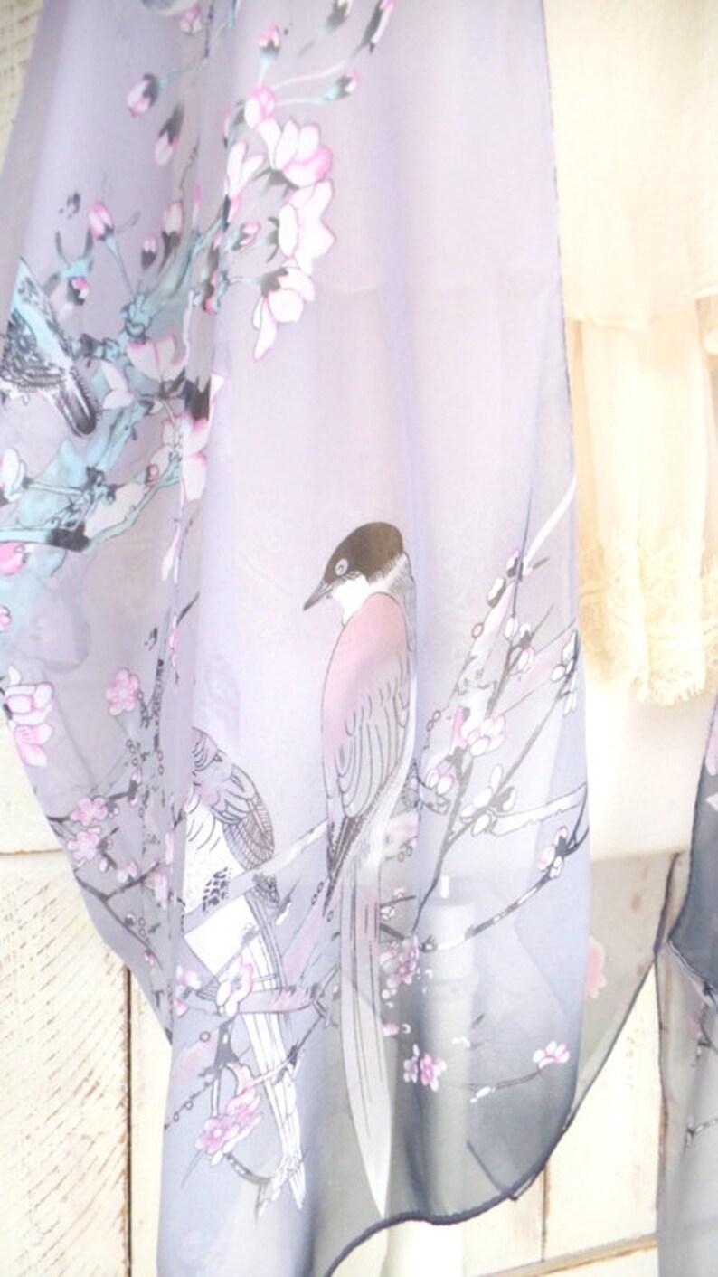 Light purplelavender Japanese cherry blossom bird print sheer silk kimono cardiganlightweight sheer floral cover upgypsy festival top