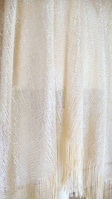 Light gold sheer gauzy metallic thread bohemian fringe kimono cardiganwoven mesh cover up blousegypsy festival topone size