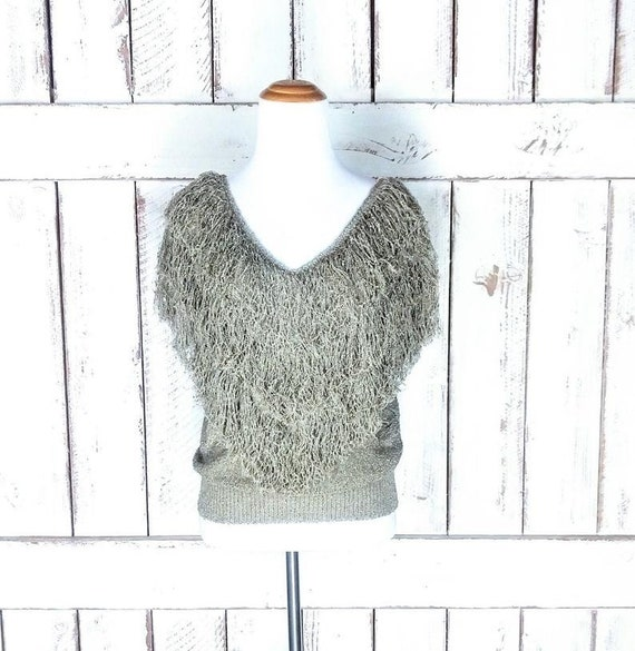 90s vintage hand loomed knit shag pullover sweater