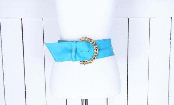 Vintage wide blue leather gold chain buckle belt/B