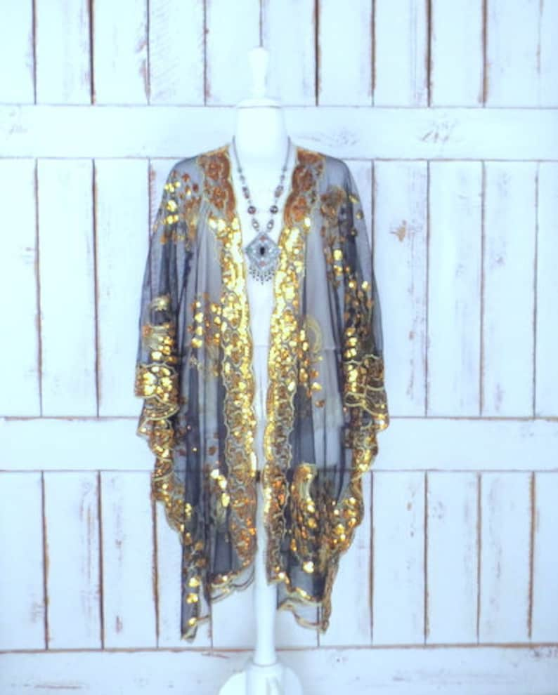 7a78d06ca55fe Sheer black net metallic gold sequin peacock festival