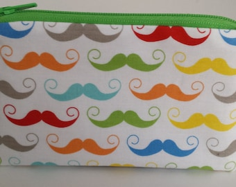 Little Zipper Pouch - Colorful Mustaches // Coin Purse // Gift Card Holder // Party Favor // Stocking Stuffer // Gift for Kids