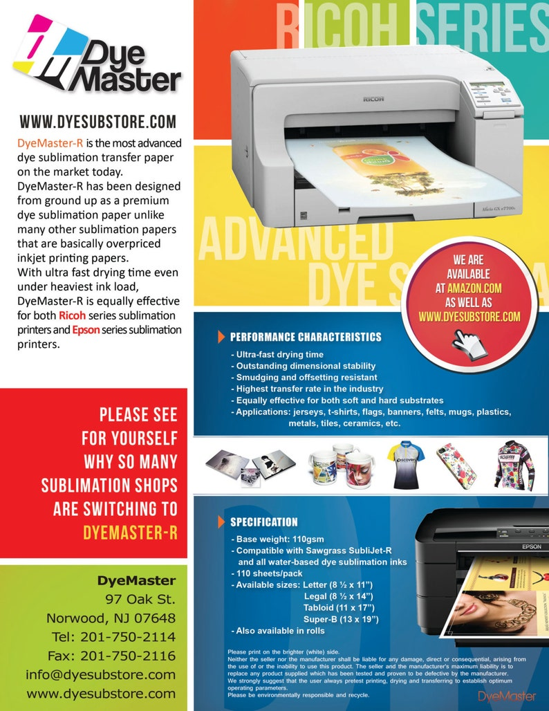 DyeMaster Sublimation Paper for Ricoh Gel/Epson Printer, 8 5 x 14