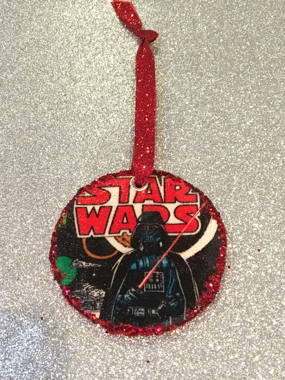 image 0 - Darth Vader Christmas Ornament Decoupage Fabric And Wood Etsy