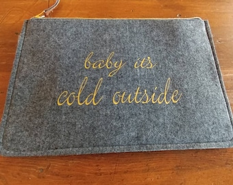 Winter Clutch. Baby Its Cold Outside. Grey Clutch. Felt Clutch.
