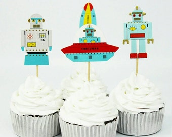 Robot, Space, Astronaut Cake Toppers. UFO. Alien. Birthday Party Decorations.