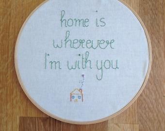 """Home - Hand Embroidery Hoop Art, 8"""" (20cm) Hoop"""