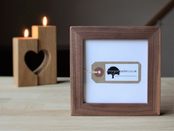 4x4 Walnut Frame Wooden Picture Frame 4x4 Square Wooden Etsy