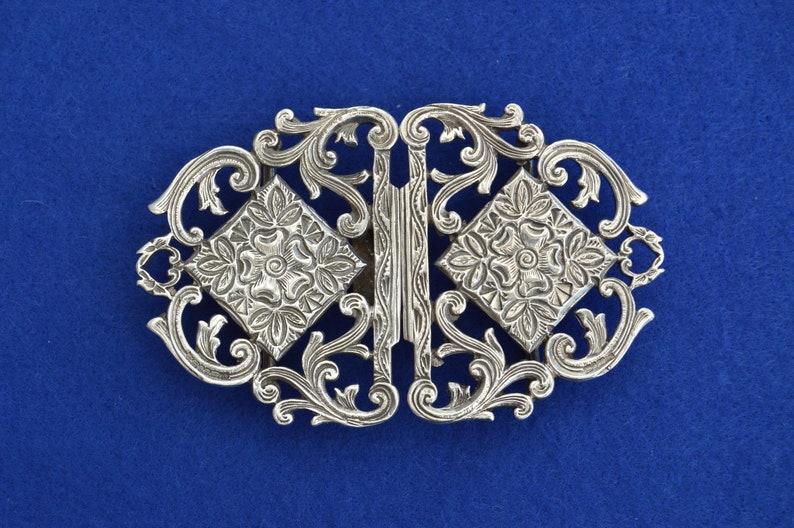 96f6a1fcf Solid Silver Nurses Belt Buckle Rose Floral Romantic London