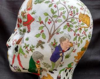 Decoupage female mannequin head for hats, jewellery & wig display in Alice in Wonderland design, hat stand, polystyrene, styrofoam, Griffin