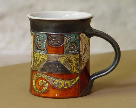Multicolored Handmade Pottery Mug, Large Ceramic Coffee Mug, Tea Mug, Hand Painted Mug, Milk Mug, Collectors Mug, Danko Pottery