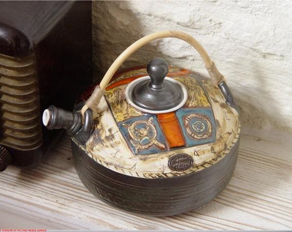 Handmade Ceramic Teapot. Wheel Thrown Tea Pot, Hot Water Jug, Artistic Pottery, Clay Art, Earthenware Teapot with Unique Willow Handle