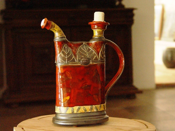 Pottery Pitcher, Handmade Ceramic Bottle, Wheel Thrown Water Jug, Glazed Pitcher, Pottery Handmade Hand painted, Danko Pottery