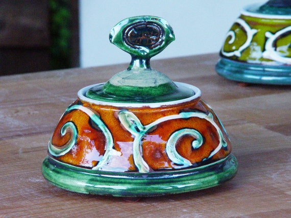 Ceramics and Pottery Sugar Bowl. Orange Sugar Cellar. Ceramic Bowl, Sugar Basin, Handmade Sugar Bowl, Sugar Keeper, Danko Pottery