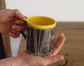 Large Stoneware Mug - Pottery Coffee Cup - Handmade Ceramic Mup - Black and Yellow Mug - Wheel Thrown Mug with a Matte Finish - Durable Mug