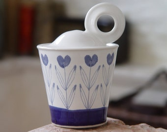 Stoneware Sugar Bowl with Delicate Heart Shaped Blue Flowers, Girlfriend Gift, Valentine's Gift, Mother's Day Gift, Wheel Thrown Pottery