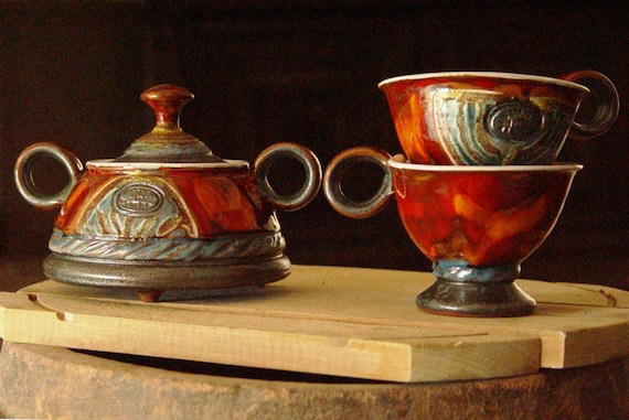 Pottery Coffee Set - Sugar Bowl and Two Cups, Ceramic sugar bowl. Pottery cups, Clay sugar bowl, Ceramic set, Pottery set