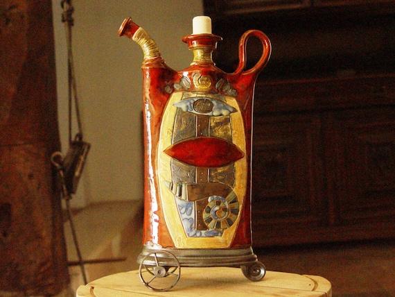 Kitchen Pottery Decor, Ceramic Teapot with Iron Wheels, Rustic Home Decor, Kitchen Decor, Handmade Pottery, Danko