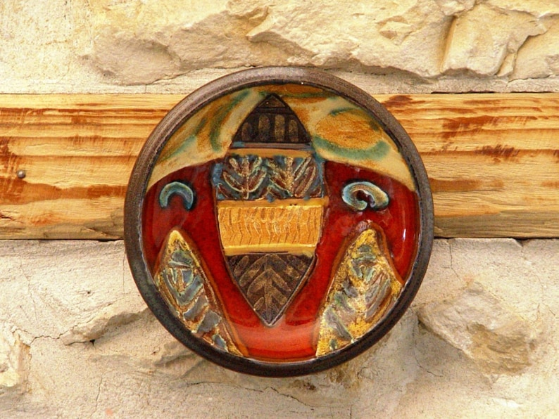 Pottery Plate Wall Decor Small Ceramic Plate with Hand image 0