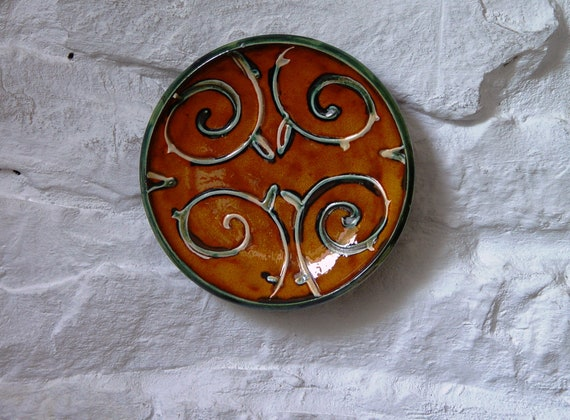 Orange - Green Ceramic Plate, Small Wall Hanging Pottery Dish, Earthen Decorative Plate