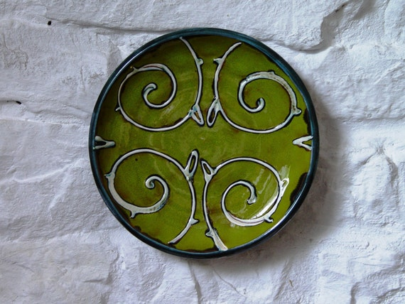 Green Wall Hanging Plate, Ceramic Wall Decor, Wheel Thrown Hand Painted Pottery Tray, Fireplace Decor, Unique Art Pottery, Danko Ceramics