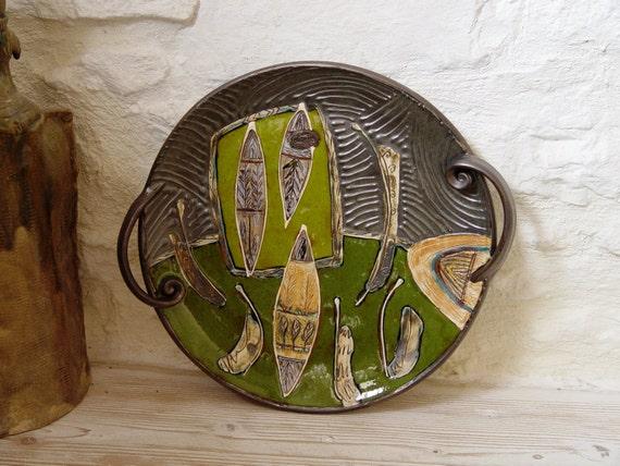 Handmade Ceramic Tray, Serving platter, Wall Hanging Plate. Wall Decor, Home Decor, Handmade Pottery, Ceramic art, Danko Pottery