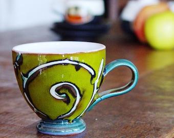 Green Pottery Mug - Ceramic Cup - Handmade Coffee Cup - Espresso - Teacup - Fun Gift - Danko Pottery