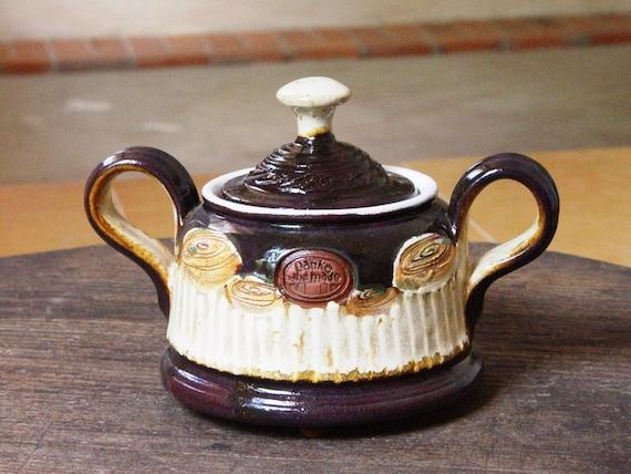 Handmade Pottery Sugar Bowl with Lid, Brown Ceramic Kitchen Canister, Sugar Basin, Clay Box, Salt or Sugar Keeper, Coffee Sets, Tea sets