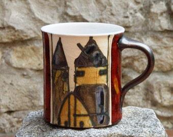 Handmade Pottery Coffee Mug, Colorful Ceramic Tea Cup, Unique Wheel Thrown Mug, Cute Mug, Clay Pots, Danko Pottery