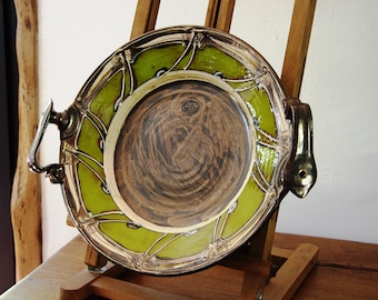 Green Pottery Platter - Wall Hanging Ceramic Dish - Handmade Artistic Pottery - Serving Tray - Unique Pottery Plate