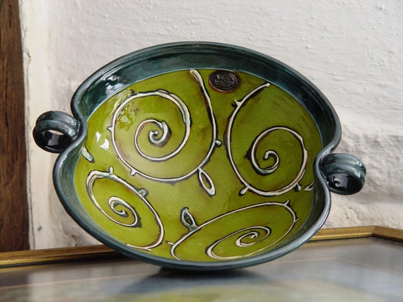 Green Pottery Bowl, Wheel Thrown Ceramic Fruit Dish, Serving Bowl, Kitchen Decor, Danko Pottery, Handmade Green Bowl with Floral Elements