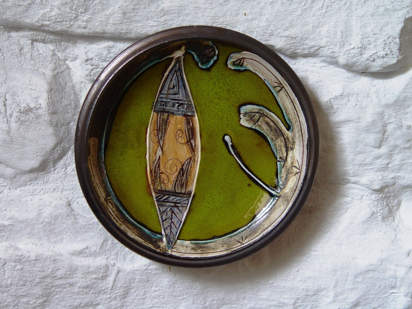 Wall Hanging Green Ceramic Plate Kitchen Decor Small Earthen Mantle Piece Handmade Pottery Danko