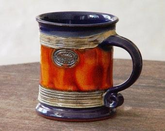 Ceramic Coffee Mug, Pottery Mug Wheel Thrown, Earthen mug, Blue and Orange Mug, Tea mug, Unique mug, Cute mug