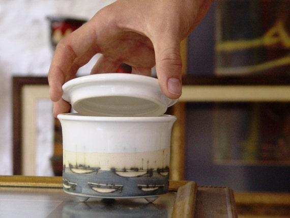 Handmade Stoneware Sugar Bowl, Unique Pottery Bowl, Wedding Gift, Kitchen Canister, Serving Bowl, Wheel Thrown Pottery, Tea Set, Coffee set