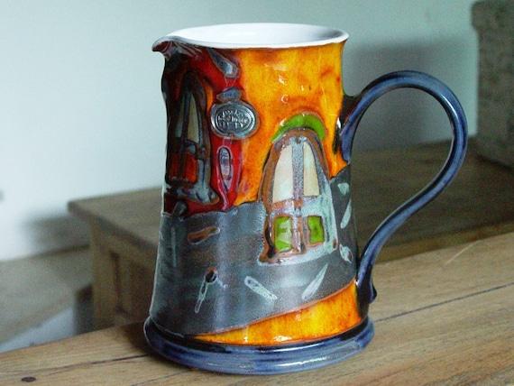 Ceramics and Pottery Water pitcher, Pottery Jug, Colorful Ceramic Jug, Handmade pottery, Wine pitcher, Ceramic Art, Danko Pottery