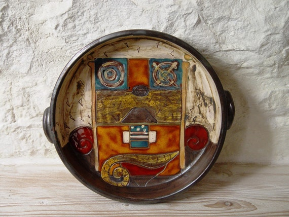 Wall Hanging Pottery Plate - Wall Decor - Kitchen Decor - Handmade Pottery - Colorful Ceramic Platter - Serving Platter - Danko Pottery