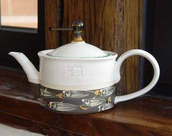 Stoneware Teapot with Handpainted Fish - Ceramic Pot for Serving Tea - Tea Kettle -  Unique and Durable Pottery - Danko Ceramics - Clay Art